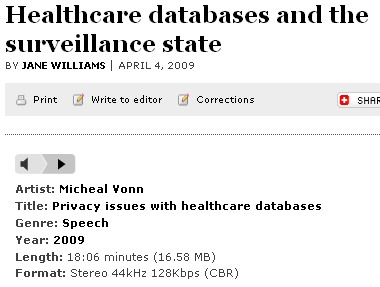 Audio podcast, Michael Vonn on Privacy Issues with Healthcare Databases