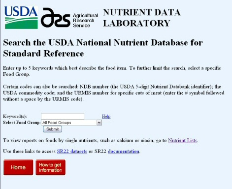 USDA Nutrient Database search url
