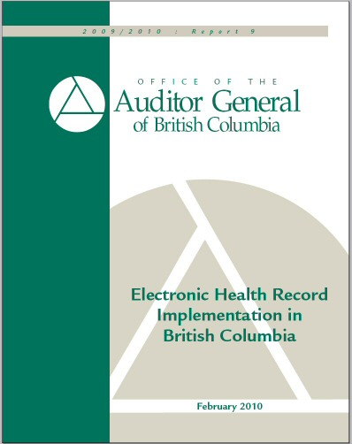 BC Auditor General, EHR implementation in BC
